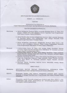 Surat Keputusan Rektor Universitas Brawijaya Nomor 470 Tahun 2015 Tentang Pengangkatan Personalia PERSADA UB